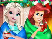 Disney Princess Playing Snowballs Game