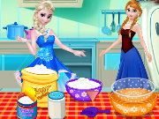 Frozen Sisters Cooking Cake Game