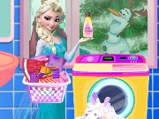 Elsa Washing Dirty Clothes Game