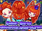 Color Girls Halloween Hairstyles Game