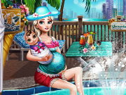 Pregnant Elsa Pool Fun Game