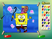 Spongebob With Jelly Fish Coloring Game