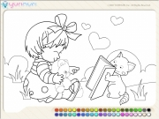 Girl And Cat Coloring Game