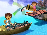 Dora and Diego Fishing Game