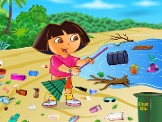 Dora Cleaning Beach Game