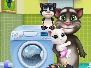 Tom Family Washing Clothes Game