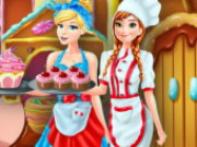 Anna And Cinderella At The Cupcakes Factory Game