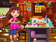 Dora Christmas Kitchen Cleaning Game