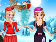 Elsa And Anna Helping Santa Game
